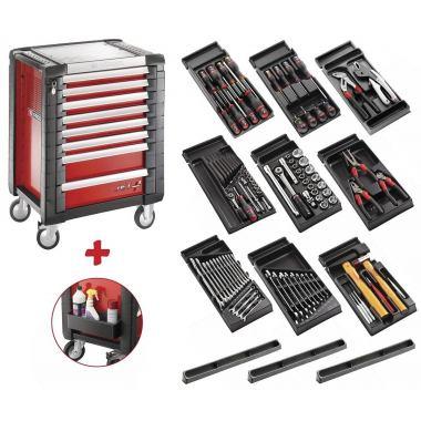 Servantă mobilă cu 8 sertare, echipată cu 9 module